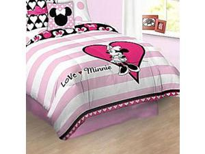 Disney Minnie Mouse Love Full Bed Comforter Pillow Sham Set