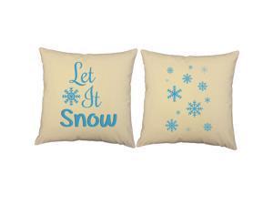 Let it Snow Throw Pillows 14x14 Natural Snowflake Cushions