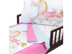 4pc Darling Carousel Toddler Bedding Horses Blanket Sheets