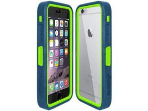 Amzer Blue on Green Embedded Tempered Glass Rugged Case With Holster for Silver/Gold Apple iPhone 6 Plus / 6S Plus