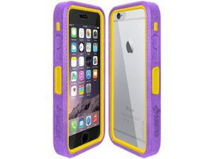 Amzer Purple on Yellow Embedded Tempered Glass Rugged Case With Holster for Silver/Gold Apple iPhone 6 Plus / 6S Plus