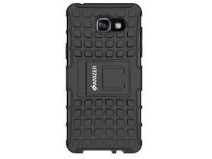 AMZER BLACK HYBRID WARRIOR CASE COVER WITH COLLAPSIBLE STAND FOR SAMSUNG GALAXY A7 2016 SM-A710F