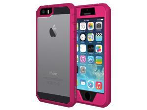 AMZER FULL BODY HYBRID PINK CASE COVER WITH BUILT-IN SCREEN PROTECTOR FOR APPLE IPHONE SE