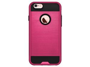 iPhone 6 6S Case Cover Amzer Metto Hybrid Dual Layer Aluminium Back Protective Case Cover - Hot Pink/ Black