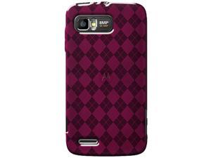 Amzer Luxe Argyle High Gloss TPU Soft Gel Skin Case For Motorola ATRIX 2 MB865  -  Hot Pink