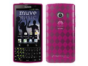 Amzer Luxe Argyle High Gloss TPU Soft Gel Skin Fit Case Cover for Huawei Ascend Q M660  - Hot Pink