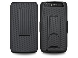 Amzer Shellster Shell Holster Combo Case Cover with Kickstand - Black for Motorola ATRIX HD MB886