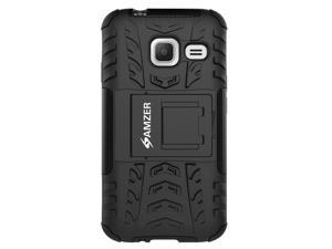 AMZER Dual layer Protection Rugged Hybrid Warrior Case Cover with Stand for Samsung GALAXY J1 Mini SM-J105B - Black