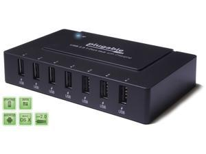 Plugable USB 2.0 7-Port High Speed Charging Hub with 60W Power Adapter and BC 1.2 Charging Support for Android, Apple iOS, and Windows Mobile Devices