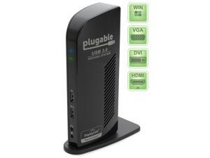 Plugable UD-3900 USB 3.0 SuperSpeed Universal Docking Station with Dual Video Outputs for Windows 8.1, 8, 7 (HDMI up to 2560x1440* and DVI/VGA to 1920x1200, Gigabit Ethernet, Audio, Extra USB Ports)