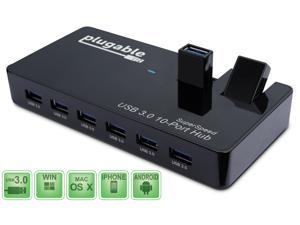 Plugable 10-Port USB 3.0 SuperSpeed Hub with 48W Power Adapter and Two Flip-Up Ports with BC 1.2 Charging Support for Android, Apple iOS, and Windows Mobile Devices