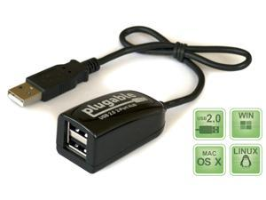 Plugable USB 2.0 2-Port High Speed Ultra Compact Hub/Splitter (480 Mbit/s, USB 2.0 Windows, Linux, OS X, Chrome OS)