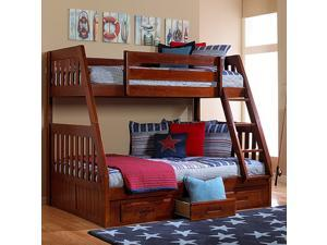 Discovery World Furniture Merlot Mission Bunk Bed Twin/Full with 3 Drawer Storage