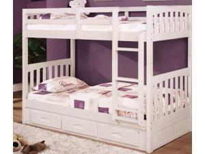 Discovery World Furniture White Mission Bunk Bed Twin/Twin with Twin Trundle