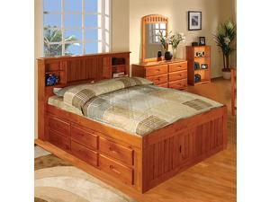 Discovery World Furniture Honey Bookcase Captains Bed Full With 6 Drawer Storage (6 on ONE side)