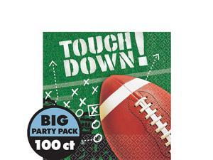 """Football Frenzy Touch Down Big Party 100 Pack 6"""" Luncheon Napkins Green"""