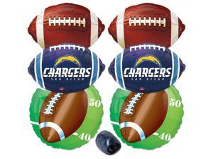 San Diego Chargers NFL Football Mylar Foil Balloons 7pc Party Pack