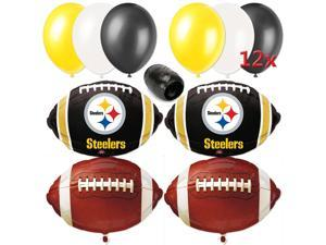 Pittsburgh Steelers NFL Playoffs Football Party 17pc Balloon Pack Black Yellow