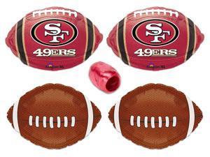 San Francisco 49ers NFL Football Party Mylar Foil Balloons 5pc Starter Pack