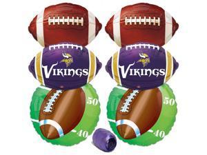 Minnesota Vikings NFL Football Party Mylar 7pc Balloon Pack Purple Yellow White