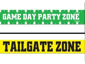 Gameday Tailgate Zone Football Decoration 2pc 20' Party Tape Green Yellow White