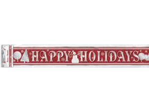 Unique Happy Holidays Frosted Tree 12' Foil Banner Red Grey