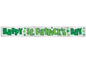 Shamrocks Happy St. Patrick's Day 9ft Foil Banner Green Party Decoration