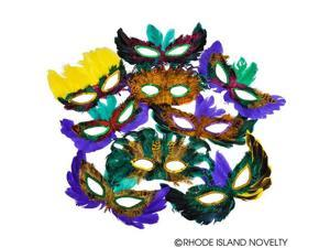 Rinco Mardi Gras Party Accessory Assorted 50pc Feather Mask, One-Size