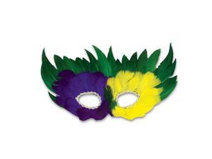 Mardi Gras Feather Mask, One Size, Purple Green & Yellow - Party Wear