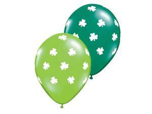 Simple St. Patrick's Day Shamrocks Latex Balloons, Green Lime White, 6 Pack