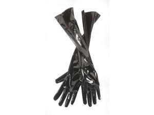 "Star Power Adult Shiny 20"" Leatherette 2pc Gloves, Black, One-Size (20"")"