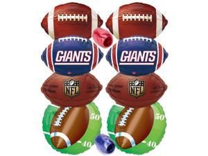New York Giants Championship NFL Mylar Foil Balloons 10pc Ultimate Party Pack