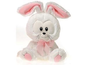 "Fiesta Easter Big Head Bunny 11"" Plush Animal, White Pink"