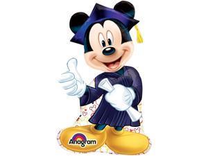 "Anagram Grad Mickey Mouse Graduation Super Shape Mylar 32"" Foil Balloon"