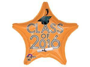 "Anagram Class of 2016 Grad Cap Star Jr Shape 19"" Foil Balloon Orange"