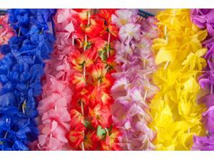100 Piece Assorted Hawaiian Flower Fabric Leis Mega Pack