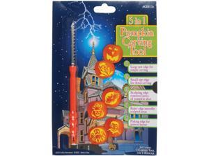 5-in-1 Multi Purpose Tool & Stencils Halloween 7pc Pumpkin Carving Kit, Orange