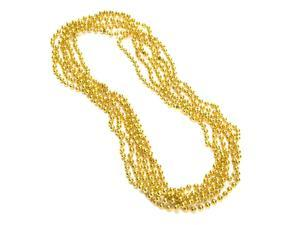"33"" Mardi Gras Beads Necklaces 7mm Round (12ct) Gold - Party Favors"