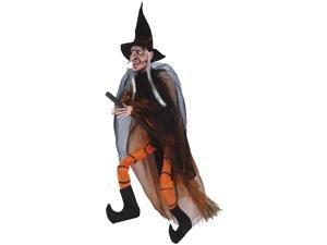"Loftus Hanging Witch With Broom Halloween 35"" Prop, Orange Black"