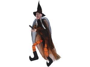 """Loftus Hanging Witch With Broom Halloween 35"""" Prop, Orange Black"""