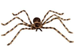 "Loftus Large Furry Striped Spider w Light-Up Eyes, 51"" Decoration Prop, Brown"