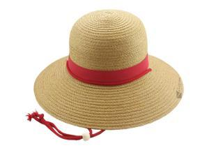 """Kallina Stylish Summer Womens Color Banded 4"""" Brim Hat, Red Beige, One Size"""