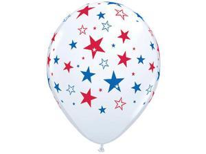 Qualatex 11in Patriotic Stars 11 in Latex Balloons, White, 50 Pack
