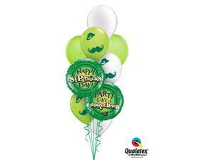 Happy St Patricks Day Moustache Latex Foil 9pc Balloon Bouquet Party Decorations
