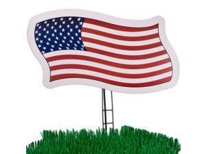 """American Flag Yard Card 21"""" Patriotic Sign Decoration, Red White Blue"""