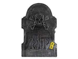 "Fun World LED Skeleton Tombstone 22"" Outdoor Prop, Black White"