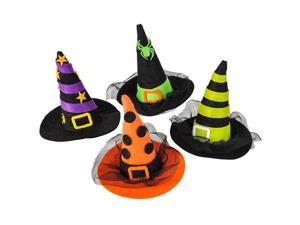 "Rinco Mini Witch Hat Clips Hair Clips, Assorted, 4"", 12 Pack"