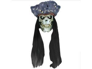 "Forum Zombie Pirate Head w Hair Foam Filled Latex 10.5"" Hanging Prop, Green"
