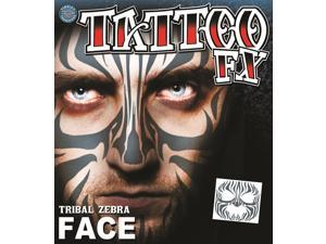 Tinsley Transfers Tribal Zebra Face Temporary Tattoo FX Face Kit, Black