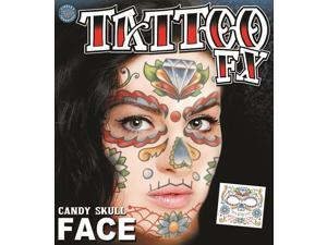 Tinsley Transfers Candy Skull Face Temporary Tattoo FX Face Kit